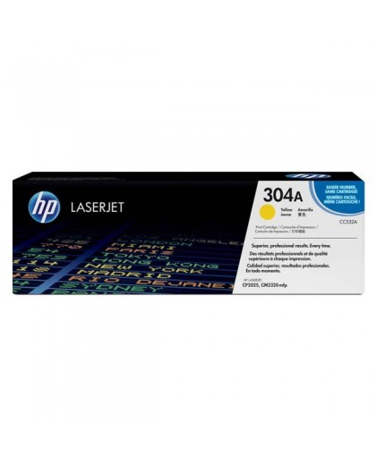 HP originál toner CC532A, yellow, 2800str., HP 304A, HP Color LaserJet CP2025, CM2320